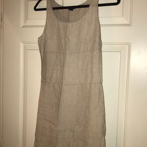 Linen dress oatmeal color just above knee